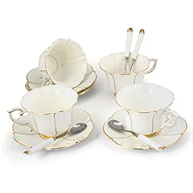 Porcelain Tea Cup and Saucer Coffee Cup Set White color with Saucer and Spoon 7 oz Set of 4 TC-CBJ