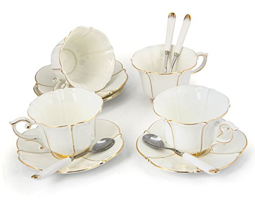 Porcelain Tea Cup and Saucer Coffee Cup Set White color with Saucer and Spoon 8 oz Set of 4 TC-CBJ