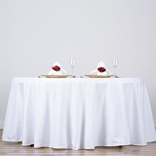 LinenTablecloth 132-Inch Round Polyester Tablecloth ()