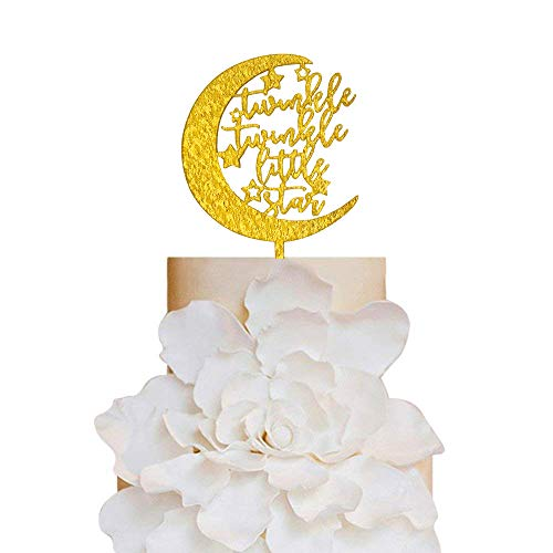 (Gold Glitter Twinkle Twinkle Little Star Cake Topper Baby Shower Decoration Moon Cake Topper Gender Reveal)