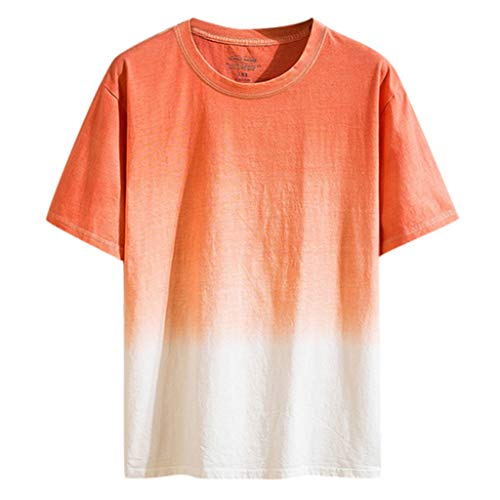 JJLIKER Mens Gradient Color T-Shirt Short Sleeve Tops Hipster Summer Casual Jersey Crewneck Tunic Tees Orange