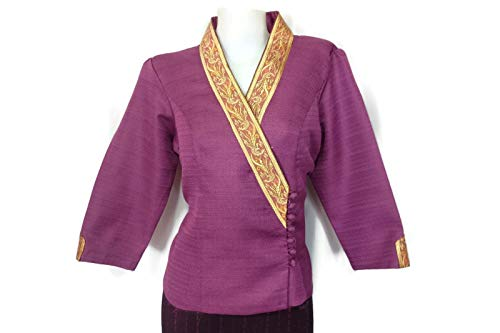 Lao Laos Laotian Plum Suea pat V-Neck Blouse Wrap Shirt Synthetic Silk Size ()