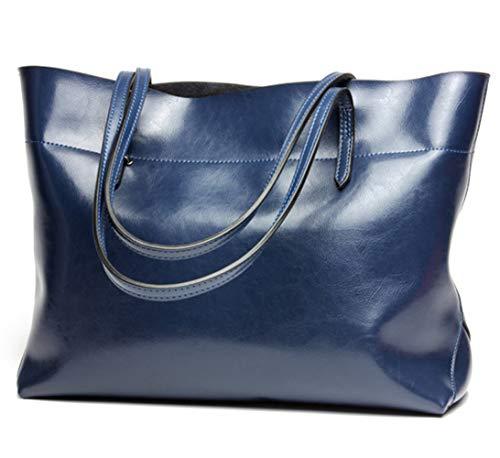 Covelin Women's Handbag Genuine Leather Tote Shoulder Bags Soft Hot Blue by Covelin (Image #2)