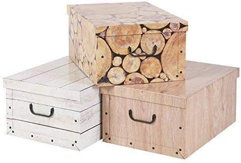 3 DEBAJO DE LA CAMA PLEGABLE cartón Cajas Almacenaje Ligero Con Tapas & Tiradores - Madera Estilo: Amazon.es: Hogar