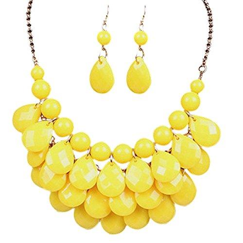 - Yellow Lucite Teardrop Bead Beaded Fringe Bib Statement Choker Necklace Earrings Jewelry Set