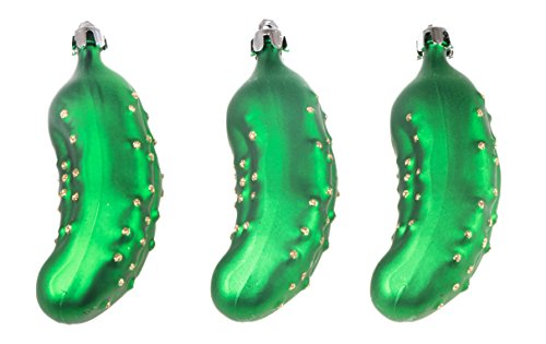 Clever Creations Shatterproof Christmas Tree Ornaments Green Festive Christmas Decor | Christmas Pickles | 3 Piece Set Perfect for Christmas Trees (Ornament Small Pickle)