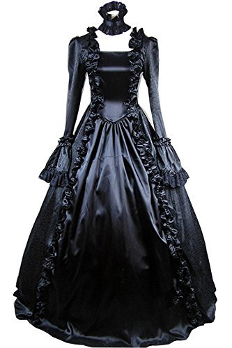 Black Long Sleeves Satin Lace Classic Gothic Lolita Dress #400Custom Made