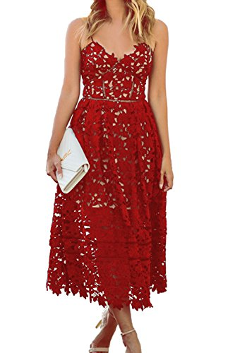 AlvaQ Womens Summer Sexy V Neck Lace Hollow Beach Evening Bridesmaid Midi Dress Formal Red Large