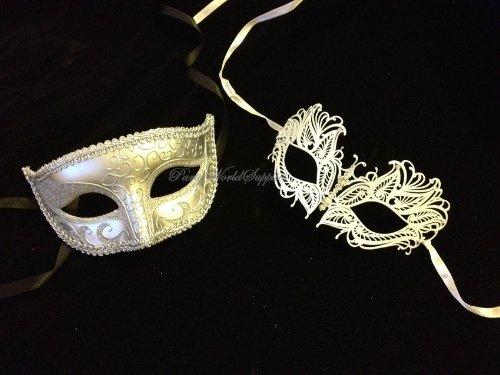 Masquerade mask for men and women Laser cut metal white masquerade mask set