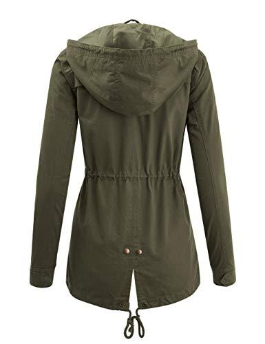 Fashion Boomy Womens Zip Up Military Anorak Jacket W/Hood,S