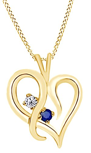 Blues Solid 14k Gold Note (Simulated Blue Sapphire & Natural Diamond Heart Pendant Necklace In 14K Solid Yellow Gold)
