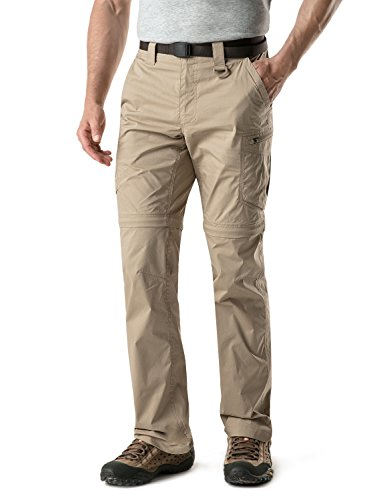 CQR CQ-TXP402-KHK_32W/30L Men's Convertible Pants Zipp Off Stretch Durable UPF 50+ Quick Dry Cargo Shorts Trousers TXP402 by CQR