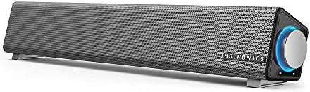 TaoTronics PC スピーカー ステレオ USB サウンドバー 小型 大音量 高音質 (マイク端子とヘッドホン端子付、高い互換性) USB給電 AUX接続 テレビ/パソコン/スマホ 対応 TT-SK018