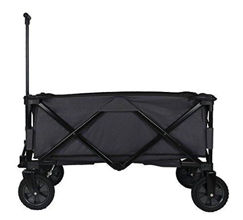 Patio Watcher Heavy Duty Collapsible Folding Garden Cart Utility Wagon for Shopping Outdoors , Gray