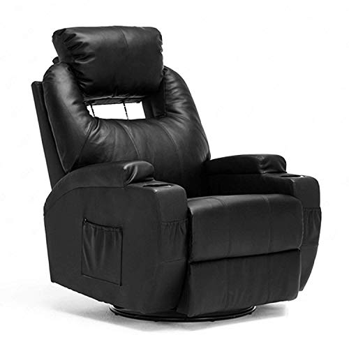 Mecor Massage Recliner Chair Bonded Leather Heated Recling Living Room Lounge Sofa Chair Rocker w/Cup Holder/Remote/360 Degree Swivel (Black-Adjustable)