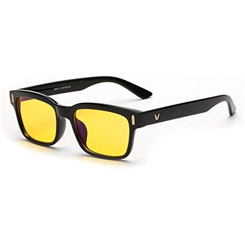 Rnow Yellow Tinted Computer Sunglasses Eye Strain Perfect for Gaming Anti Glare - Sunglasses Gaming