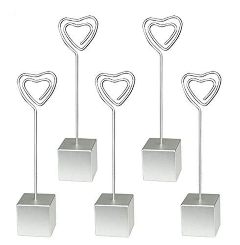 (Yootop 5Pcs Silver Cube Resin Base Heart Shape Table Number Holder Stands Picture Photo Note Memo Clip)