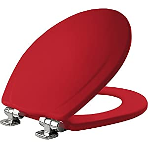 MAYFAIR Toilet Seat with Chrome Hinges will Slow Close and Never Come Loose, ROUND, Durable Enameled Wood, Red, 30CHSLB 613