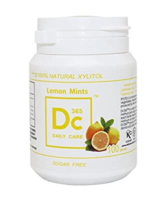 100% Xylitol Sweetened Mints,Fresh Lemon,Kosher,Halal,Sugar-free,Promotes Oral Health,Fights Bad Breath,Supports Teeth Health 60g/bottle
