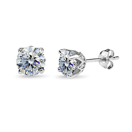 (Sterling Silver Clear 6mm Round Crown Stud Earrings Made with Swarovski Crystals)