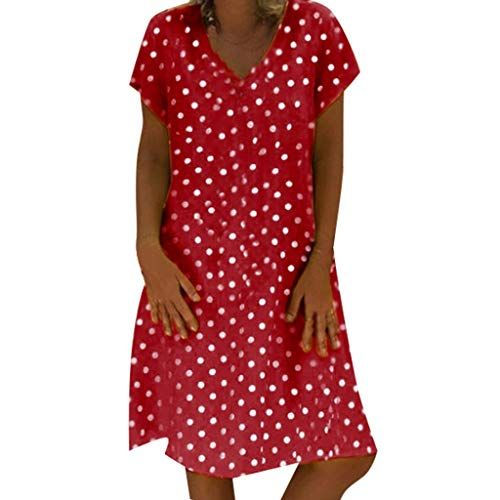 COPPEN Women Dresses Bohemia Lace Stitching Deep V-Neck Summer Bohemia Mini Beach Dress Red