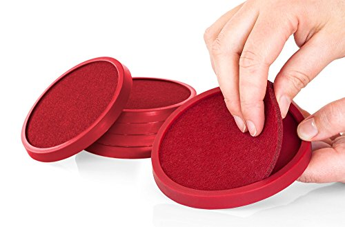 Silicone Drink Coasters with Absorbent Soft Felt Insert Set of 6 by Comfortena - Unique New Design Two in One Coaster (Wine Red) ()