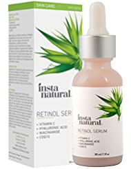 InstaNatural Retinol Serum - Anti Wrinkle Anti Aging Facial Serum - Helps Reduce Appearance of Puffiness, Wrinkles, Crows Feet & Fine Lines - with Vitamin C & Hyaluronic Acid - 1 oz
