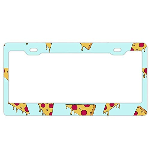 Feddiy Universal Owl in The Galaxy Print Funny Car License Plate Frame The 'Fyre Festival of pizza2