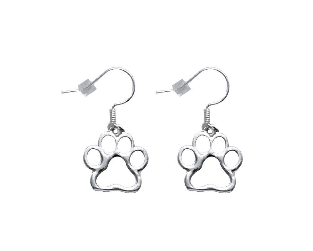 10 Pairs Crystal Paw Print Hanging Earrings 10 Pairs of Earrings Individually Bagged