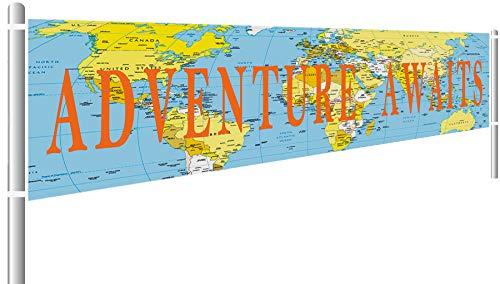 (Adventure Awaits Banner, Bon Voyage Banner, Travel Theme Banner for Birthday Baby Shower Graduation Retirement Travel Themed Party)