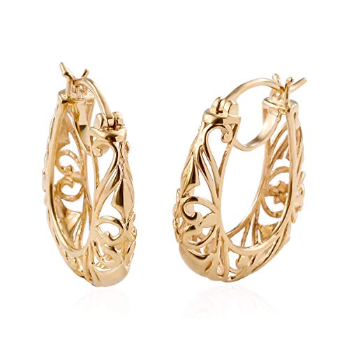 14K Yellow Gold ION Plated Filigree Openwork Basket Hoops Hoop - 14k Filigree Hoop Gold Yellow