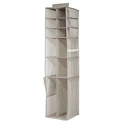InterDesign 16-Shelf & Pocket Shoe, Boot & Accessories Organizer - Chevron Hanging Closet Storage System, Taupe/Natural (Shoe Hangers For Closet)