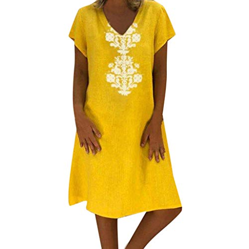 Splendid Scoop Neck Tunic Top - Sunhusing Ladies Summer Loose Casual Linen Dress V-Neck Bohemian Print Short Sleeve Dress Yellow