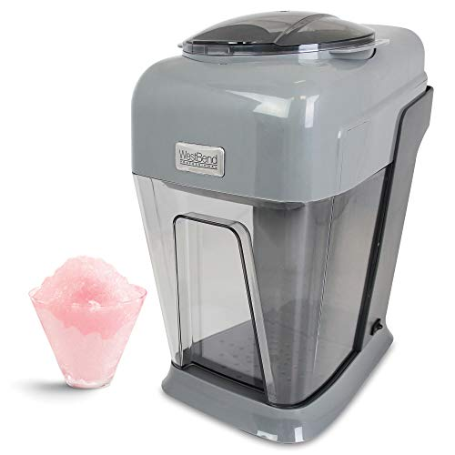 West Bend 65041 Professional Snow Ball Machine Perfect for Snow Cones Slushies and Frosty Beverages with Removable Ice Drum, 8-Ounce, Gray