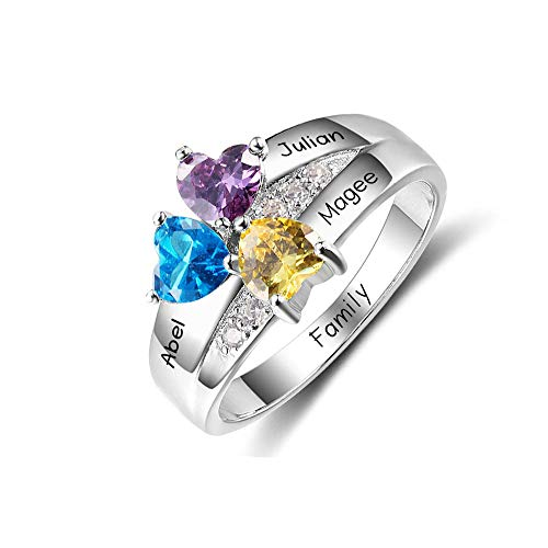 Lam Hub Fong Personalized 3 Simulated Birthstone Mothers Rings for 3 Engrave Name Rings for Family Mother's Day Friends Gifts (8)
