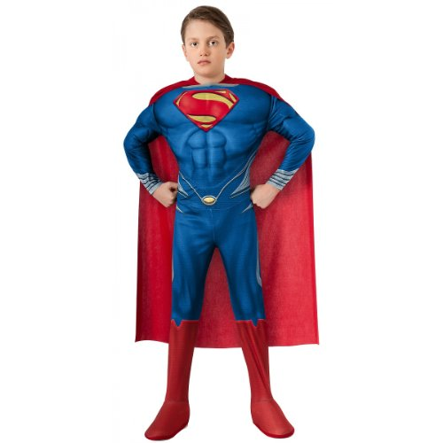 Superman Costume For 12 Year Olds (Man of Steel Deluxe Superman Children's Costume, Large)