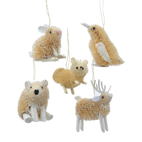 Kurt Adler 3.5-Inch Buri Winter Animal Christmas Ornament Set of 5 by Kurt Adler