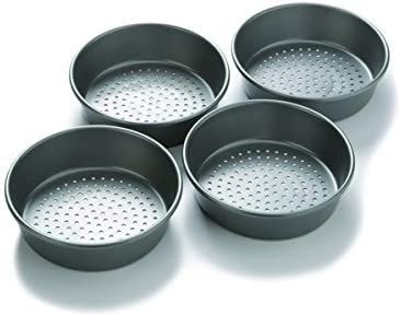 Chicago Metallic Professional Perforated Mini-Deep Dish Pizza Pan Set, 7-Inch, 4-Count, Silver, 1.00 x 7.00 x 1.50