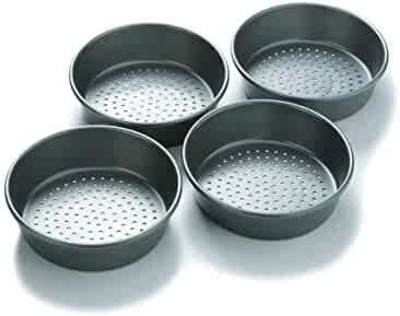 Chicago Metallic Professional Perforated Mini-Deep Dish Pizza Pan Set, 7-Inch, 4-Count
