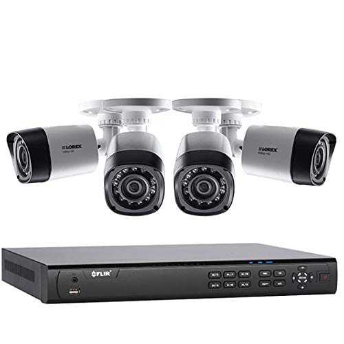 Lorex 4 Camera MPX Home Security Camera System with Flir 4 Channel DVR and (4) Full HD 1080p Lorex MPX Bullet Camera, 130ft Night Vision, 1TB, Remote View with Flir Cloud App