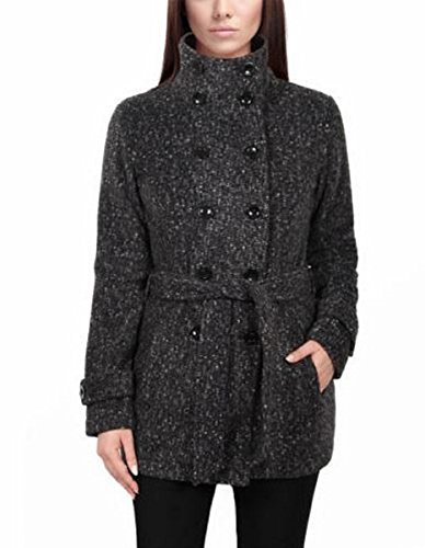 IKE BEHAR WOMENS DOUBLE BREASTED FLEECE BELTED COAT (Small, Charcoal (Double Breasted Belted Plaid Coat)