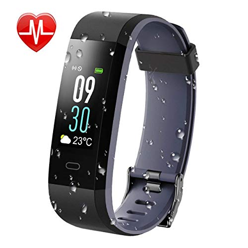 KARSEEN Fitness Tracker, Activity Tracker IP68 Waterproof Fitness Watch Heart Rate Monitor Colorful OLED Screen Smart Watch With Sleep Monitor Step Counter Rminder Pedometer for Android&iOS (Grey)