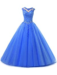 Lace Appliques Ball Gown Evening Prom Dress Beading Sequined Quinceanera Dresses Long H152