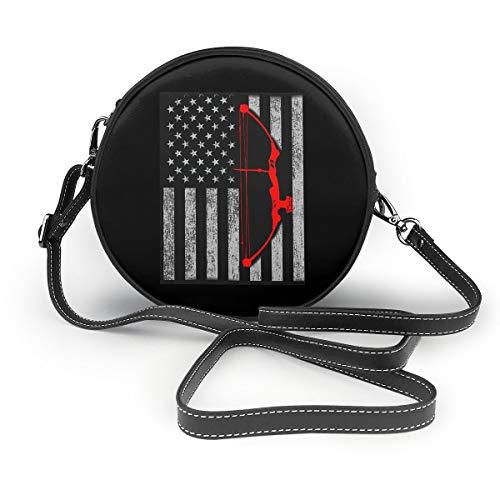 Women's Crossbody Bags Archery Bow Hunting US Flag Round Shoulder Bag Circle Purses Handbags With Zipper