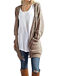 Women's Loose Open Front Long Sleeve Solid Color Knit Cardigans Sweater Blouses with Pockets