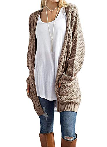 GRECERELLE Women's Cardigan Sweaters Long Sleeve Fall Knit Open Front Cardigans Sweater Blouses with Pockets Khaki-XL