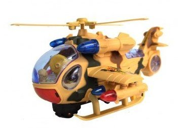 LilPals Camouflage Toy Helicopter With Bump N' Go, Blinking /Flashing Lights & Chopper Sounds - Military Air Force Helicopter With Take Off and Landing Action - Turns 360 Degrees (Go Helicopter)