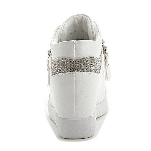 Met Giy Damesmode Hoogte Sportschoenen Top Wedge Casual Wit Sneakers Hoge Ronde Verhoogde Cz Neus Platform r7rHfqn