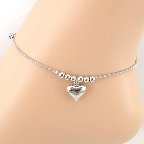 (Quaant Anklet,Bracelets on The Feet Life Belongs to You Heart-Shaped Pendant Dolphins Anklet Bracelet Sandal Beach Foot Jewelry Pesca (Silver))