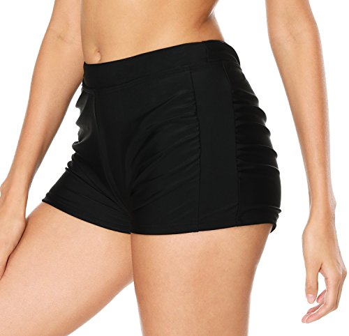 ATTRACO Swimsuit Bottom Women Low Waist Tankini Shorts Black Medium